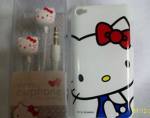 Hello Kitty iPod Touch 4G Case Back Cover 3 5mm Earbud Set New White Blue Shirt