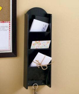 New Hanging 3 Tier Mail Key Holder with Storage Black or Walnut Bills Organizer