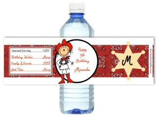 Cowgirl Rodeo Western Birthday Party Water Bottle Labels