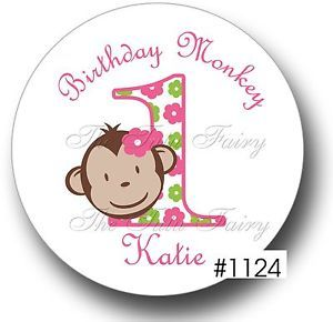 Mod Monkey Pink Party Favor Cupcake Toppers Birthday Thank You Stickers Labels