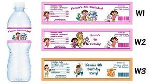 Dora The Explorer Go Diego Printed Water Bottle Labels Birthday Party Favors