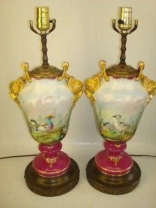 Pair Antique Hand Painted Gilt Porcelain Lamps