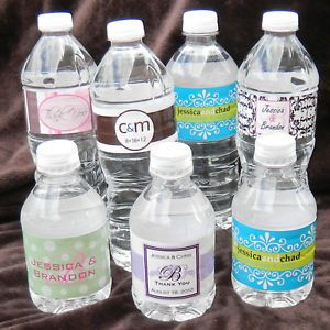 50 Custom Glossy Waterproof Water Bottle Wedding Party Favor Label Stickers