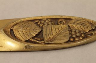Antique Art Deco Gilt Bronze Letter Opener Signed H Risch Wonderful