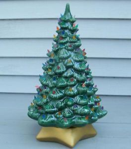 "Vintage Gold Star Base Ceramic 20"" Tall Christmas Tree Lighted Bulbs Light Lamp"