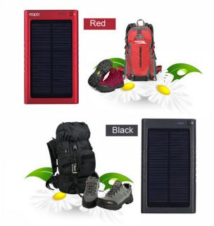 3000mAh Solar Backup Battery Charger for iPhone iPad Samsung HTC Laptop Black