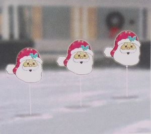 Christmas Frosty Santa Silhouette Lighted Pathway Markers Yard Stakes Light Set