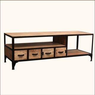 Industrial Reclaimed Wood Iron Rustic Media TV DVD Console Storage Center