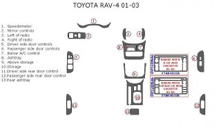 Toyota Rav 4 RAV4 Rav 4 Interior Wood Dash Trim Kit Set 2001 2002 2003 2004 2005