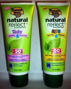 Lot of 2 4oz ECH Banana Boat Sunscreen Lotions Natural Reflect Baby Kids