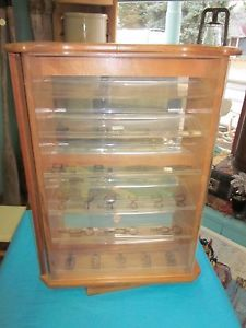 Vintage Table Top Rotating Display Case w Locks Keys Jewelry Fishing Knives