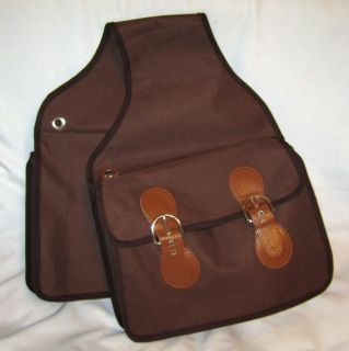 Western Trail Ride Saddle Bags Canvas Water Resistant Durable Brown Buckle