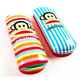 Paul Frank Julius Tin Round Metal Striped Pencil Case Pen Box School Stationery