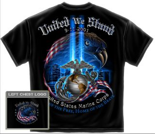 USMC 9 11 T Shirt 911 Marine Corps Military Army Logo USA Flag Eagle NY FF2067US