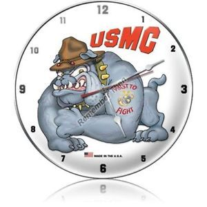 USMC Marine Corps Bulldog First to Fight Metal Clock