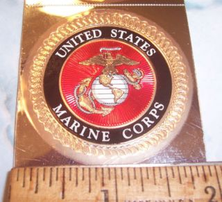 6 Official USMC Marine Corps Embossed Foil Sticker Decal Emblem Logo Seal Set