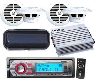 Marine Boat CD  Player Radio Stereo 4 x Speakers New 400W Amp Remote Cover