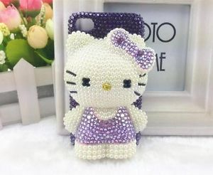 New 3D Handmade Bling Purple Hello Kitty Bow of Cell Phone iPhone4 4S Case Cover