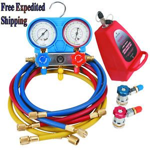 R134a AC A C Manifold Gauge Set with Hoses and Air Vacuum Pump R134a R12 New