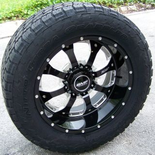 "20"" Black BMF Novakane Wheels 33"" Nitto Terra Grappler Chevy GMC Dodge 2500 3500"