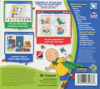 Caillou Magic Playhouse Children Ages 2 6 Educational PC Game Brand New
