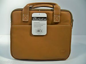 Tan Leather Netbook Portfolio Case Small Laptop Sleeve Fit Apple MacBook Air 11""