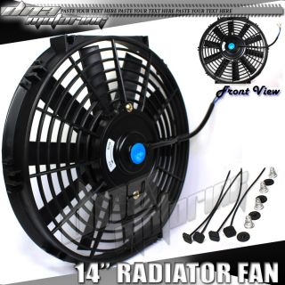 "14"" Pull Push Slim 12 Volt Electric Radiator Black Fan Cooling Mounting Kit Fans"