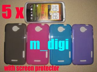 5X Soft TPU Gel Cover Skin Case for HTC One x XL LCD Film