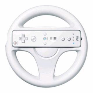 White Racing Steering Wheel Controller for Nintendo Wii Mario Kart Racing Games