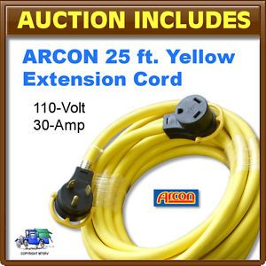 Arcon 25 ft Yellow Electrical RV Power Extension Cord with Handles 110V 30A