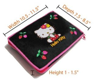 "Hello Kitty Laptop Sleeve Cover Black Soft Case Bag Asus Acer Dell 10"" 12"" B1"