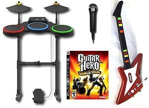 PlayStation 3 PS3 Guitar Hero World Tour Band Kit w Rock Zero Set Drums Mic Game