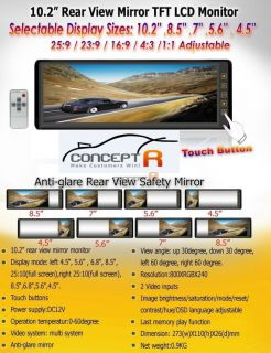 Details about NEW 10.2 Color Rear View Mirror Wireless Camera Back Up