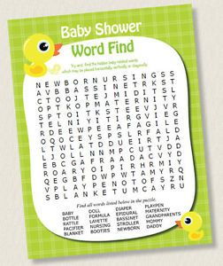 FIND SEARCH BABY SHOWER GAME RUBBER DUCK BOY GIRL NEUTRAL PRINTABLE