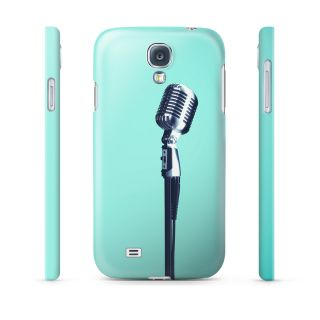 Retro Microphone on Teal Hard Cover Case for iPhone Samsung 65 Other Phones
