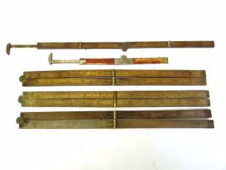 Antique Vintage Lot Wooden Brass Accented Carpenters Rulers Measuring Tools