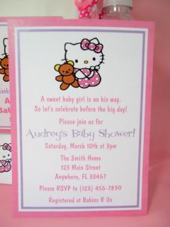 Hello Kitty Baby Shower PDF CD Invitation Favors Gum Wrappers Banner Decorations
