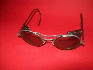 Vintage Motorcycle Safety Goggles Eye Glasses Green Glass Steampunk