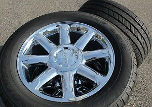 Used GMC Yukon DENALI OEM Chrome 20 Wheels and Tires with TPS sensors