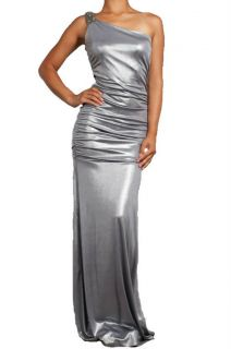 Dress Sexy Metallic Silver Shimmer Beaded One Shoulder Toga Long Formal Gown S