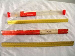 "Vtg 2 Engineers Post Scale 12"" Drafting Rules Rulers Measure Concave Shape USA"