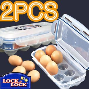2pcs Lock and Lock Portable Egg Storage Container Tray Plastic Case for Travel