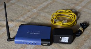 Linksys Wireless Print Server USB 2 0 WPS54GU2 w Power Supply Cat 5 Cable