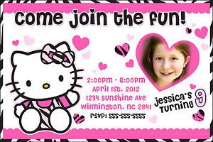 Hello Kitty Zebra Birthday Party Pink Invitation Printable Digital