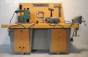 Vintage 1969 Ideal Toys Power Mite Work Bench with Tools Battery Operated Works