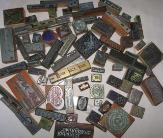 Vintage Old Lot Wooden Wood Metal Printers Blocks Advertising
