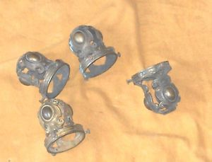 4 Antique Victorian Midieval Brass Wall Sconce Gas Light Globe Holders Receivers