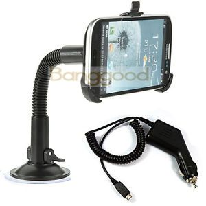Car Charger Windshield Suction Mount Holder Stand for Samsung Galaxy S3 I9300