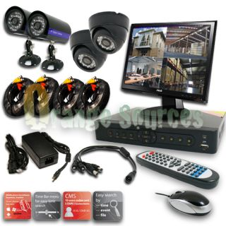 4CH H 264 CCTV DVR Sony CCD Cameras Outdoor Indoor Security System Network 500GB
