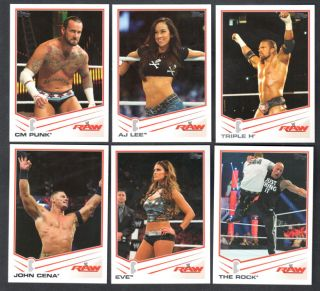 WWE 2013 Triple Threat Topps Complete Trading Card Set 1 110 cm Punk AJ Lee